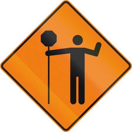 tcp: Canadian temporary traffic sign - traffic control person ahead. This sign is used in Quebec.