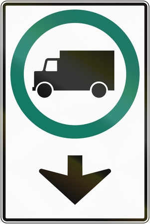 moving images: Regulatory road sign above lane in Quebec, Canada - Lorry lane.