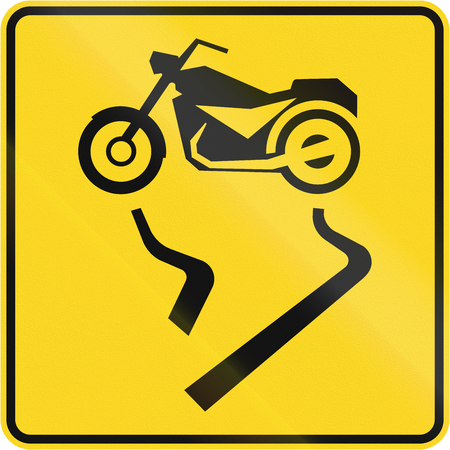 car on the road: Canadian road warning sign - Slip danger for motorcycles