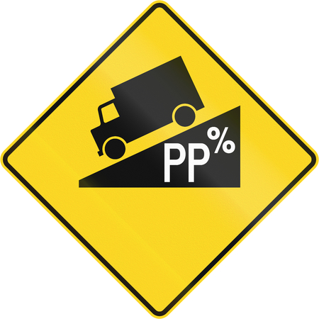 moving images: Canadian road warning sign - Hill or steep grade ahead. This sign is used in Quebec.