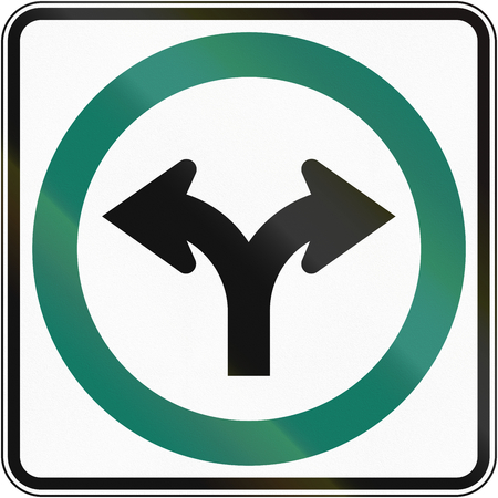 turn left sign: Regulatory road sign in Quebec, Canada - Turn left or right.