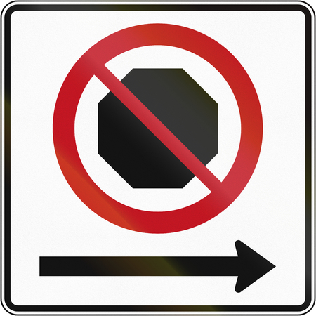 right handed: Canadian road sign: No stopping on the right. This sign is used in Quebec.