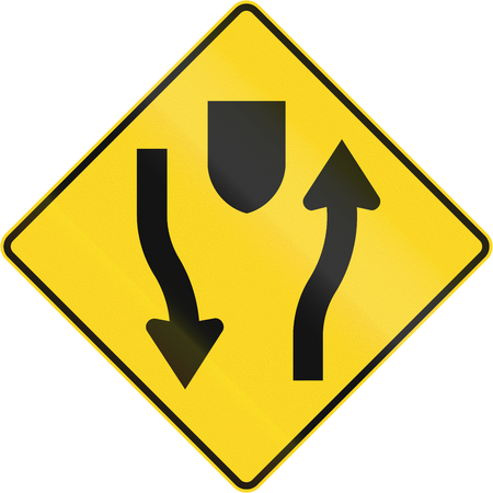 no pase: carretera señal de advertencia de Canadá - Central de Reserva Con ambos sentidos del tráfico. Este signo se utiliza en Quebec.