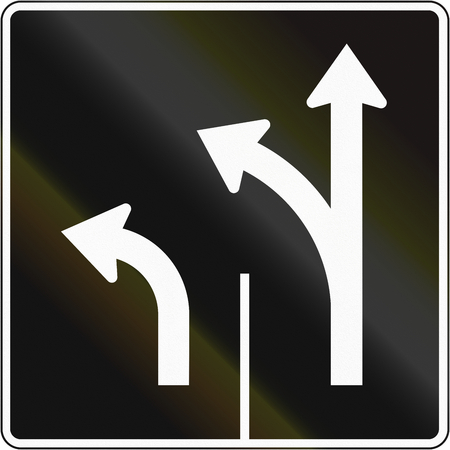 left handed: Lane management sign in Canada - Two lanes straight and left. This sign is used in Quebec. Stock Photo