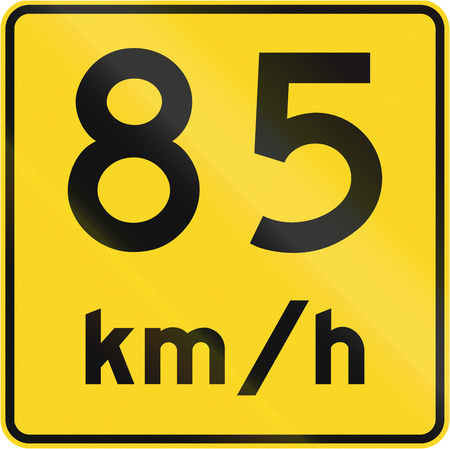 kmh: A road sign in Canada - Speed limit 85 kmh. This sign is used in Quebec. Stock Photo