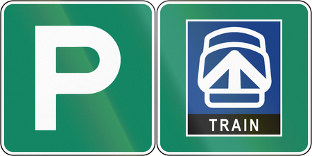 parking station: Guide and information road sign in Quebec, Canada - Parking place for train station. Stock Photo