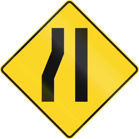 one lane road sign: Canadian road warning sign: Road narrows on the left. This sign is used in Quebec.