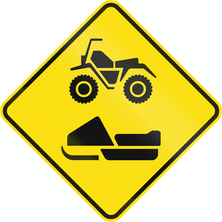 no skid: Canadian road warning sign - ATVs and snowmobiles. This sign is used in Quebec.