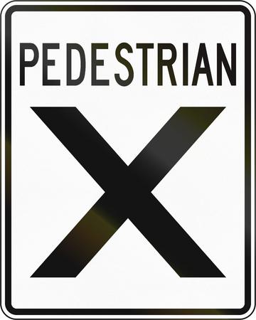 senda peatonal: signo del paso de peatones en Canadá. Este signo se utiliza en Onta. Foto de archivo