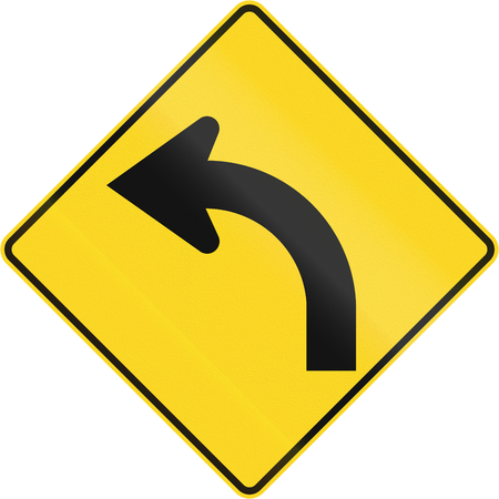 quadratic: Canadian road warning sign - Left curve ahead. This sign is used in Quebec.