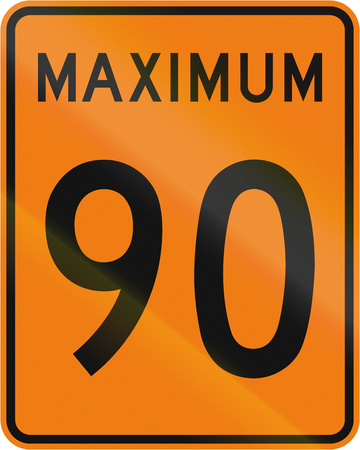 kmh: Temporary road sign in Canada - Speed limit 90 kmh. This sign is used in Quebec.