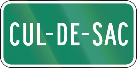 Guide and information road sign in Quebec, Canada - Cul-de-sacdead end.