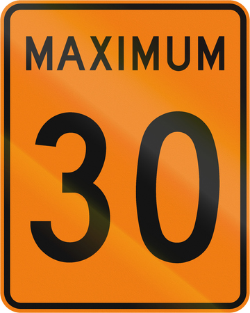 kmh: Temporary road sign in Canada - Speed limit 30 kmh. This sign is used in Quebec.