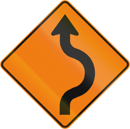 reverse: Canadian traffic warning sign - two reverse curve to the Right. This sign is used in Quebec. Stock Photo