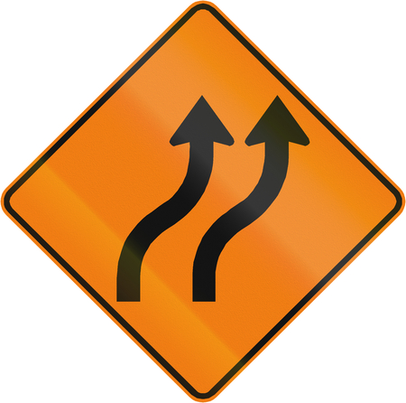 reverse: Canadian road warning sign - Two lane reverse curve. This sign is used in Quebec.