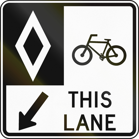 bike lane: Bike lane road sign in Canada. This sign is used in Ontario.