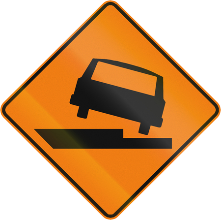 uneven edge: Temporary warning road sign in Canada: Uneven road. This sign is used in Quebec. Stock Photo