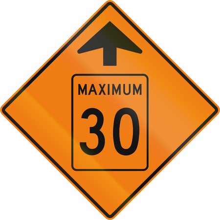 kmh: Temporary road sign in Canada - Speed limit 30 Kmh Ahead. This sign is used in Quebec. Stock Photo