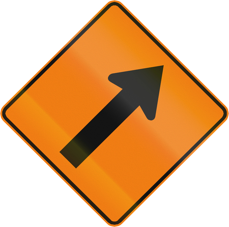 roadworks: Roadworks sign in Canada - Keep right. This sign is used in Quebec. Stock Photo