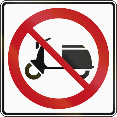 mopeds: Canadian traffic sign prohibiting thoroughfare of mopeds. This sign is used in Quebec.