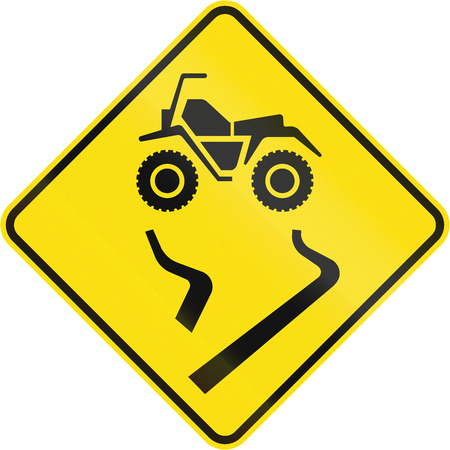 skidmarks: Canadian road warning sign - Slip danger for ATVs. This sign is used in Quebec. Stock Photo