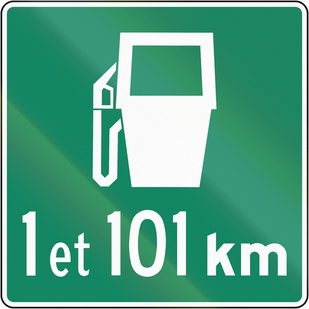 distances: Canadian traffic sign - Gas station distances, 1 and 101 kilometers. This sign is used in Quebec.
