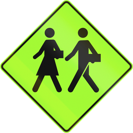 lurid: Canadian school warning sign, new green version. This sign is used in Quebec.