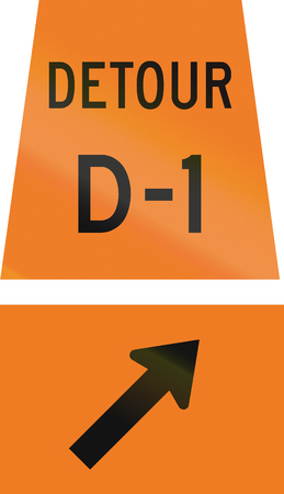 d1: Canadian temporary road sign - Keep right for detour D-1. This sign is used in Ontario. Stock Photo