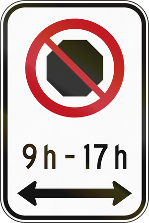 stopping: Canadian road sign - No Stopping in specified times. This sign is used in Quebec.