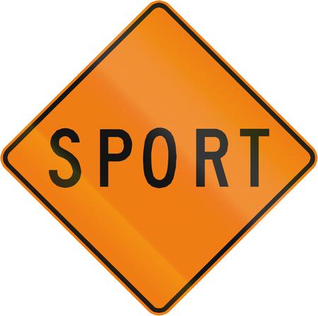 quebec: TemporaryWorks road sign in Quebec, Canada - Sport.. Stock Photo