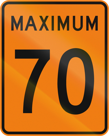 temporary: Temporary road sign in Canada - Speed limit 70 kmh. This sign is used in Quebec.