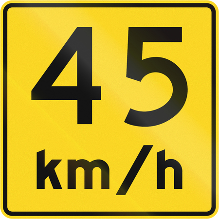 kmh: A road sign in Canada - Speed limit 45 kmh. This sign is used in Quebec.