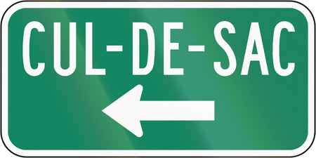culdesac: Guide and information road sign in Quebec, Canada - Cul-de-sacdead end on the left. Stock Photo