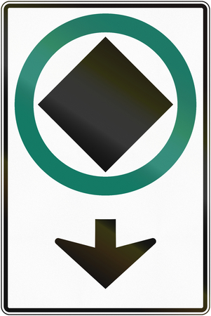 goods: Road sign in Canada: Route For Dangerous Goods Vehicles. This sign is used in Quebec.