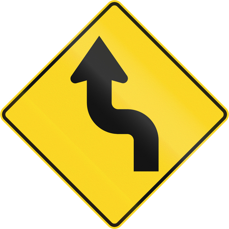 left handed: Canadian road warning sign - Reverse curve first to left. This sign is used in Quebec. Stock Photo