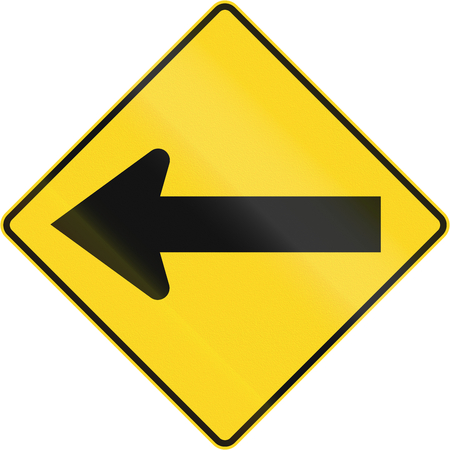 Warning road sign in Quebec, Canada - To the left.