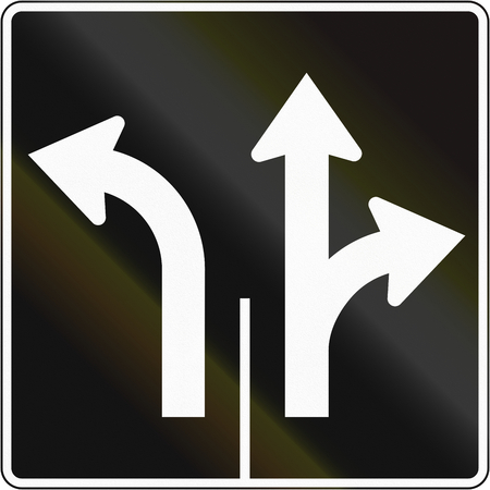 right handed: Lane management sign in Canada - Two lanes for different directions. This sign is used in Quebec. Stock Photo