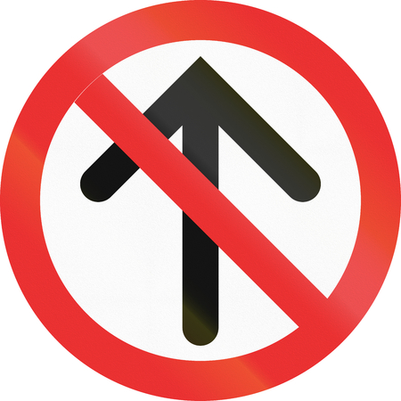 red handed: No Straight Ahead sign in the state of Jalisco (Mexico). Stock Photo
