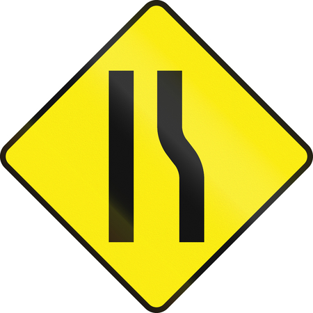 Irish road warning sign: Road narrows on the right