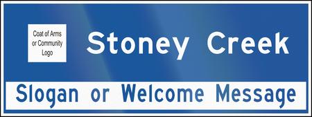stoney: A town name sign in Ontario, Canada - Stoney Creek Stock Photo