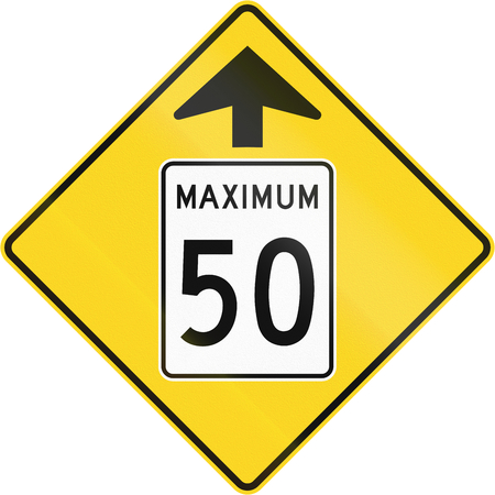 Canadian road warning sign - Speed limit 50 ahead. This sign is used in Quebec.