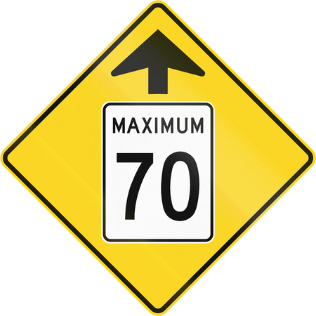 in number: Canadian road warning sign - Speed limit 70 ahead. This sign is used in Quebec. Stock Photo