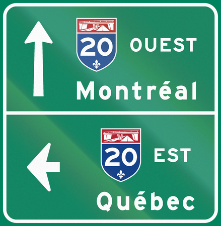 est: Guide and information road sign in Quebec, Canada - Direction in east and west of highway 20. Ouest means west, est means east.