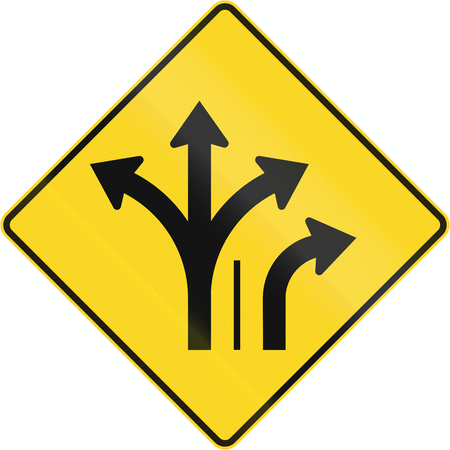 marking up: Warning road sign in Quebec, Canada - Two lanes with right turn lane.