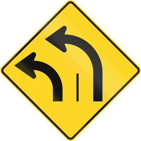 turn left: Warning road sign in Quebec, Canada - Two lanes turn left.