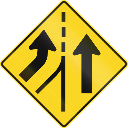 merging: Canadian road warning sign - Merging from the left. This sign is used in Quebec. Stock Photo