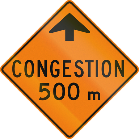 congestion: TemporaryWorks road sign in Quebec, Canada - Traffic congestion. Stock Photo