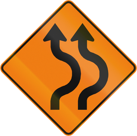 right handed: Canadian traffic warning sign - Double two reverse curve to the Right. This sign is used in Quebec.