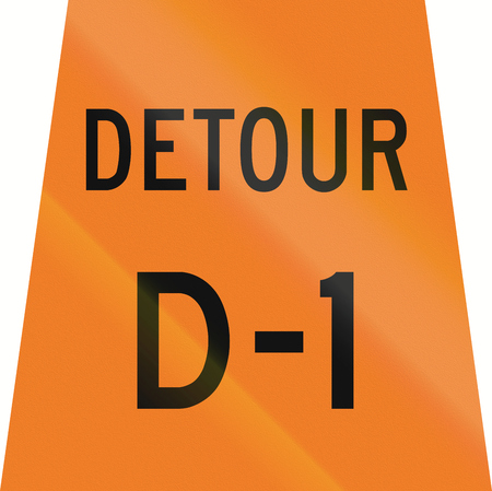 d1: Canadian temporary road sign - Detour D-1. This sign is used in Ontario.
