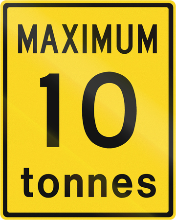 tonnes: Weight restriction sign in Canada - 10 Tonnes. This sign is used in Ontario.